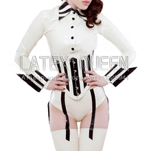 Buy Women 's sexy latex sets blouse +corset+stockings + gloves +briefs