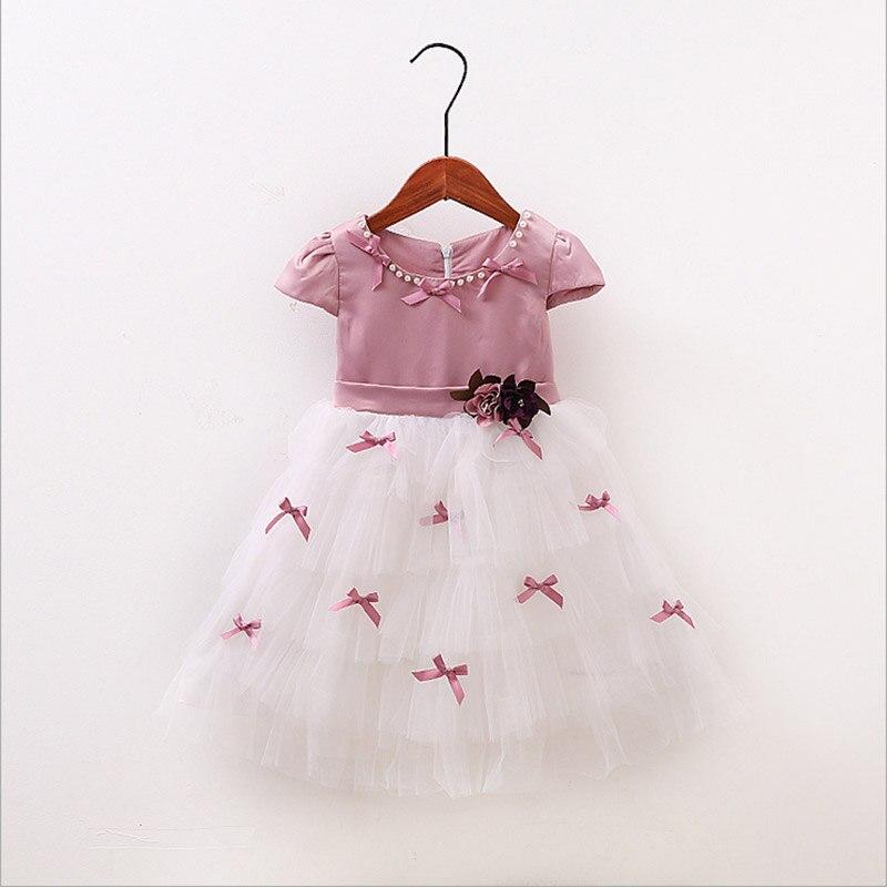 Baby Girls Dresses summer 2017 new Princess Flower Costume Elegant dress Bow Kids Clothes Rapunzel Children Dress 3-12 years old<br>