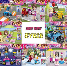 hao gao le 80pcsSY628 Monster School Girl Friends Mini dolls with motorcyle Building Block bricks Sets Educational DIY baby Toys(China)