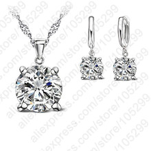 JEXXI 925 Sterling Silver Jewelry Sets 4 Claws Cubic Zirconia CZ Pendant Necklace Earring Fashion Jewelry For Women SET(China)