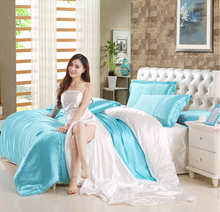 Home And Hotel Both Used 4pcs Mulberry Silk Bedding Set Satin Bed Linen/Bedclothes Including Duvet Cover Bed Sheet Pillowcases(China)