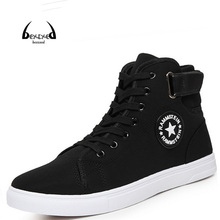 High Quality Men Canvas Shoes 2016 Fashion High top Men's Casual Shoes Breathable Canvas Man Lace up Brand Shoes Black