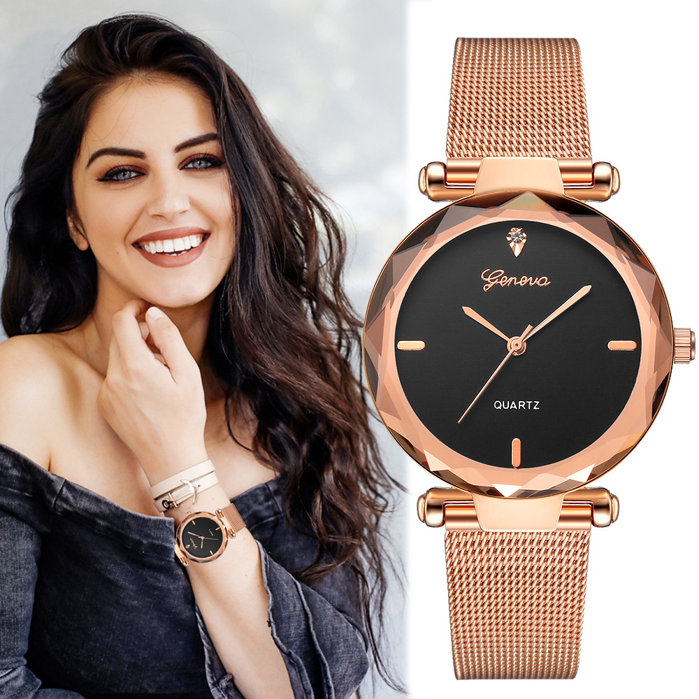 2018 Best Sell Women Watches Geneva Fashion Classic Hot Sale Luxury Stainless Steel Analog Quartz WristWatches relogio feminino(China)