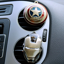 2017 New Iron Man Captain America Shield Car Outlet Perfume Original Auto Perfumes Air Freshener Car Air Conditioning Vent Clip