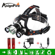3 LED Headlight 5000 Lumens Cree XM-L T6 + 2* R5 Head Lamp High Power 4 Mode LED Headlamp Zoomable +2* 18650 Battery + Charger