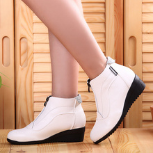 Ankle Boots Shoes Woman Fashion woman boots Autumn Winter Boots leather shoes zip(China)