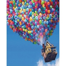Balloons Fly House Painting Home Decoration Acrylic Picture Paint By Numbers For Living Room Wall Artwork 40x50cm(China)