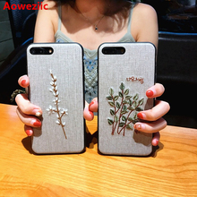 Aoweziic China wind thorn embroidery For iphone7 shell X 6S mobile phone lanyard 8 atmospheric tide brand 7Plus and silica gel(China)