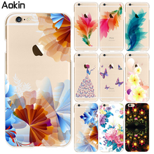 Aokin Ultrathin Beautiful Fashion Flower Butterfly Phone Cases For Iphone 7 Plus 6 6s Plus 5s SE Soft TPU transparent Case