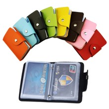 24 Card slots 2sided plastic Card Holder size small multicolor Business card pack Bus Card bag women purses men wallet wholesale(China)