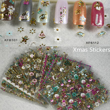 50 sheets 3d Xmas Christmas Gift Hat Tree Snowflakes Nail Art Stickers Wraps Stick Nails Tips Decorations Tools TRXF6117-6122