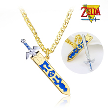 Hot Game Legend of Zelda Removable Master Sword Gaes Cosplay Necklace Pendant Golden Sky Sword With Sheath Necklace Jewelry(China)