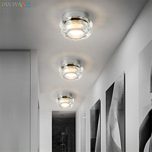 JW_Modern Corridor Lamps Nordic Round Led Crystal Diamond Ceiling Lights for Italian Design Balcony Bedroom Daily Lighting(China)