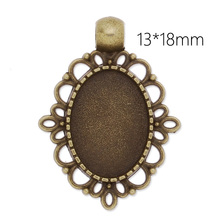 20 pc/lot Hollow Side Blank Bezel Cameo Cabochon Settings, Antique Bronze Necklace Base Blanks Pendant Tray-C3878(China)
