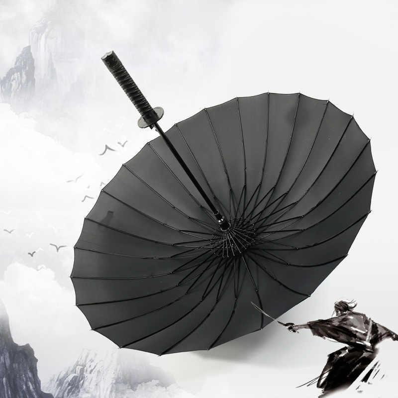 Samurai Sword Umbrella Katana Straight Handle Japanese Folding Strap Ninja