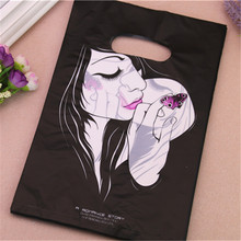 New Style Wholesale 100pcs/lot 20*30cm Luxury Fashion Girl Plastic Gift Packaging Bags For Hair Extension With Handles(China)
