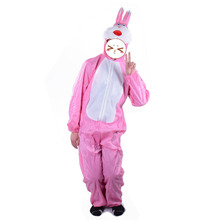 Adult Rabbit Costume Pink Bunny Suit Animal Costume Bunny Mascot Onesie Fleece Jumpstuie with Hood Easter Day Hallowen Costumes