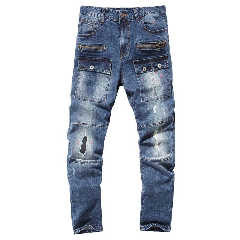 High Quality Mens Biker Jeans blue Slim Fit Motorcycle Jeans Men Vintage Denim Jeans Casual Skinny Pants spijkerbroek mannenÎäåæäà è àêñåññóàðû<br><br>