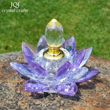 Purple K9 Crystal Perfume Bottle Glass Lotus Flower Crafts Lady Toiletry Bottle For Car Decoration Home Decor Birthday Gifts