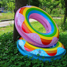 Inflatable Rainbow Swim Ring Pool Float inflatable Donut Swimming Circle women Rainbow Float Pool Party Lifebuoy Water toys(China)