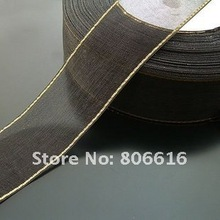 25MM 50Yard Black Gold Side Silk Thread Ribbon Riband Band Woven Cords Hair Jewelry Findings