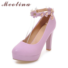Meotina Women Pumps Wedding Bridal Shoes Platform High Heels Spring Flower Ankle Strap High Heels Party Shoes White Purple White(China)