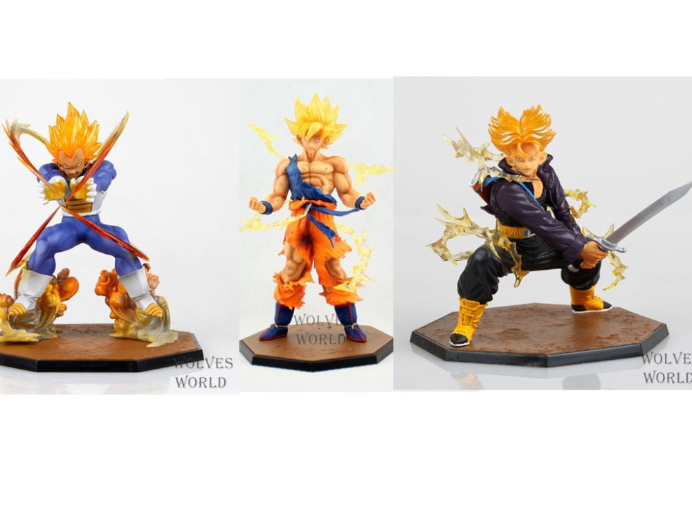 Huong 3pcs/set Anime Dragon Ball Z Super Saiyan Goku Trunks Vegeta Battle Version Boxed PVC Action Figure Model Collection Toys <br>