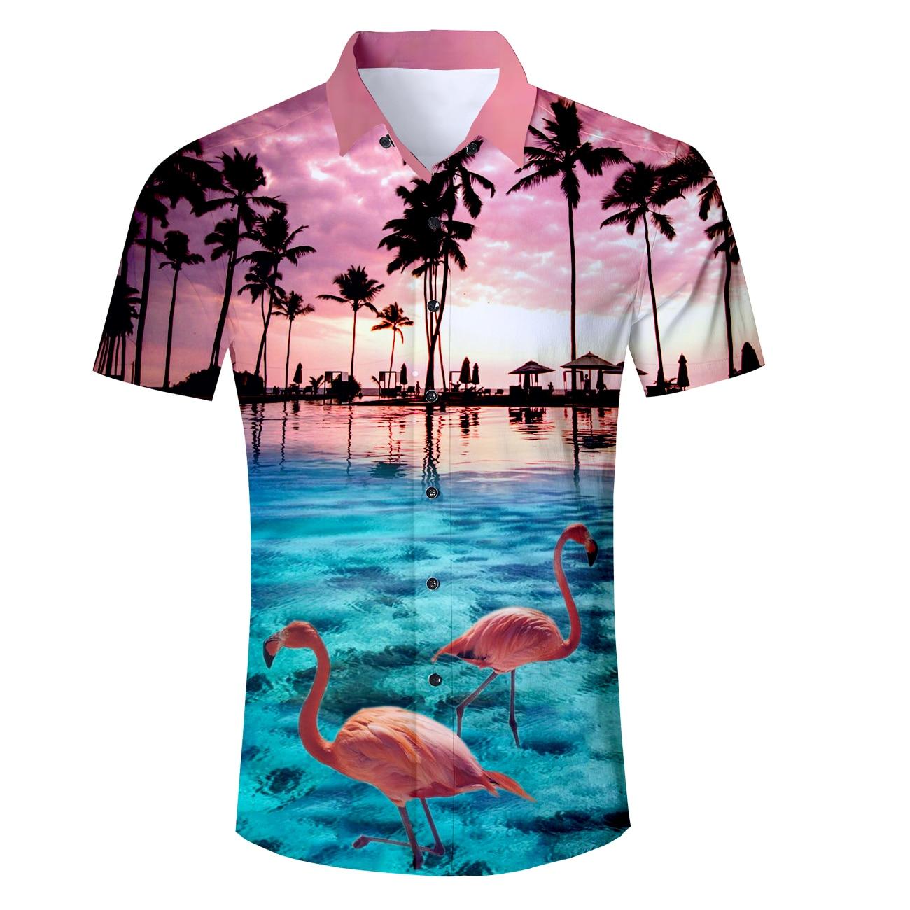 Grosshandel Herren Kleidung Flamingo Hawaii Druck Shirt Manner Casual