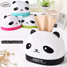 4 Color Creative Cute Panda Shape Pumping Carton Plastic Office Home Decoration Tissue Storage Box  Quality Daily Necessities