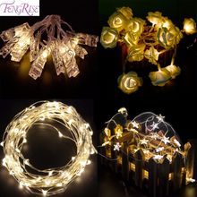 FENGRISE 2m5m LED String Copper Wire Light Battery Operated Night Light Romantic Wedding Christmas Tree Decoration 2018 New Year(China)