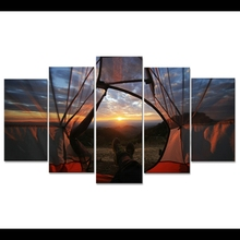 Home Decor Pictures Landscape Modular Painting Frame Print 5 Pieces Look At The World In The Tent Canvas Poster Wall Art PENGDA