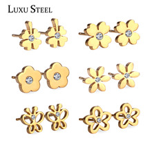 New 6 Pairs Classical Stainless Steel Earrings Set Stud Earrings with Cubic Zirconia, Gold/ Silver