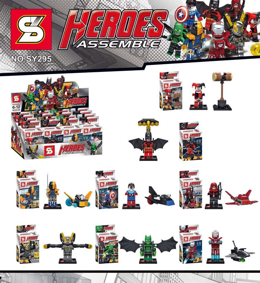 SY295 Building Block Super Heroes Avengers Minifigures Harley Quinn/Red Arrow/Iron Man/Batman/Yellow Jacket Bricks Mini Figures<br><br>Aliexpress