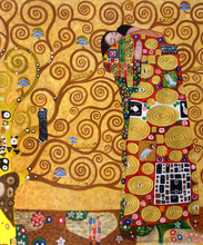 Handpainted Abstract Paintings for Bedroom Gustav Klimt Oil Painting Reproductions - Fulfillment (The Embrace), Vertical(China)