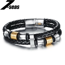 Classic Silver & Gold Color Metal Leather Bracelet Charm Bistratal Rope Bracelets With Magnetic Buckle ClapsTop Quality,PH887(China)