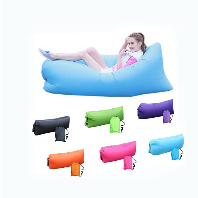 2017 Unique 10s Inflatable laybag Sleeping Bag Leisure Hang out Lounger Air Camping Sofa Beach Nylon Fabric sleep Bed Hammocks<br><br>Aliexpress