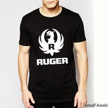 Free Shipping Summer New Ruger Logo Shirts Pro Gun Trendy Men Stretch Cotton T-shirts Gun T Shirt Short Sleeves Pistol Top Tee