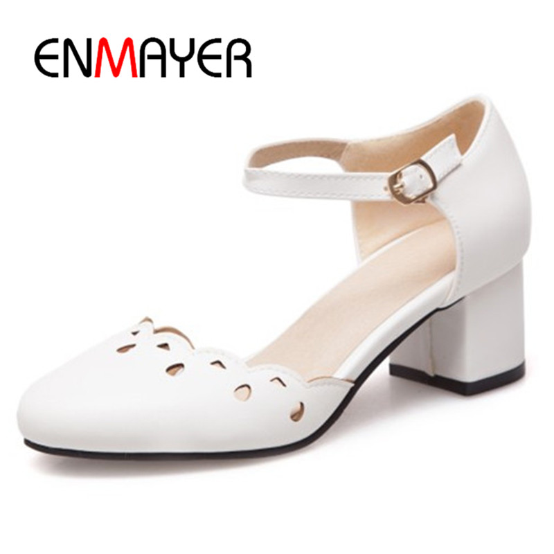 ENMAYER 2018 New Spring Shoes Woman High Heel Sexy Dating Party Pumps Round Toe Light Color Woman Shoes Lady Wedding Shoes Pumps<br>