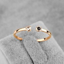 Mini Design Delicate Opening Black Clear Austrian Crystal Small Ring for Women/Girls Rose Gold Color