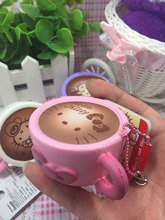 1pcs Hello Kitty  Squishy 6cm Cute Coffee Cup Squishies Original Package Tag Rare Pink Cell Phone Charm Strap