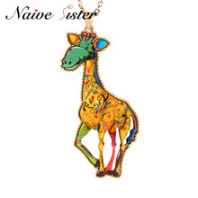 Personality Giraffes Pendant Necklace Cute Pendants Necklaces For Girl Women Fashion Acrylic Jewelry Friend Christmas Gift Kolye