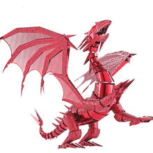 Piececool 2016 Newest 3D Metal Puzzles of Dragon Flame Red & Silver Color 3D Assemble Model Kits DIY Funny Gifts for Kids Toys(China)