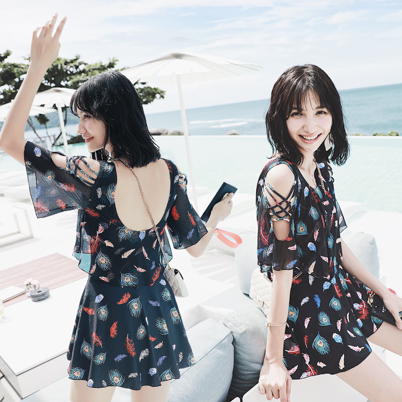 One Piece Girls Swimsuit Flouncing Swimwear Women Hollow Shoulder Trumpet Sleeve Beachwear Backless Skirt Swimming Bathing Suits<br>