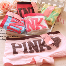 Women Boxer Panties Cotton Boyshort  Pink Letter Underwear Breathable Cozy  Low-Rise Ladies Teenage Cotton Underwear Panties