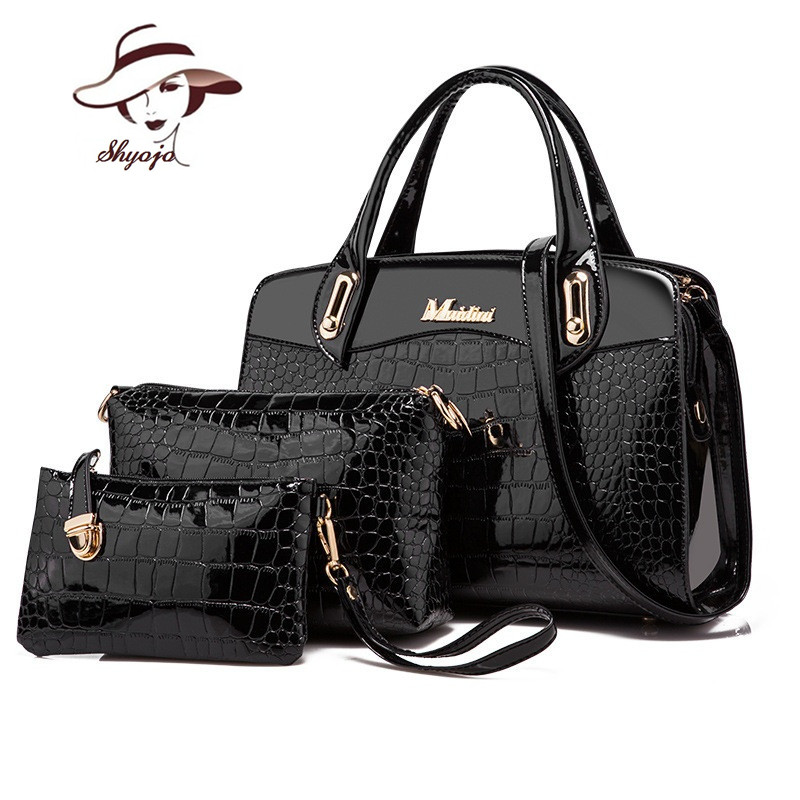 Luxury Patent Leather Handbag+Day clutches+Wallets 2017 women crocodile PU leathe shoulder bag ladies designer fashion style bag<br>