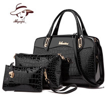 Luxury Patent Leather Handbag+Day clutches+Wallets 2017 women crocodile PU leathe shoulder bag ladies designer fashion style bag(China)