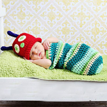 Handmade Crochet Beetle Cocoon Set with Red Hat Newborn Baby Sleeping Bag Animal Hat for Photo Props Shower Gift MH027(China)
