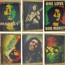 COSY MOMENT Vintage Bob Marley Poster Retro Nostalgic Reggae National Music Rock Poster Kraft Painting Wall sticker QT138(China)