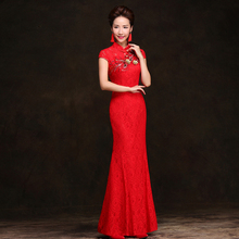 chinese lace red cheongsam chipao dresses long chinese embroidery Stand collar applique(China)