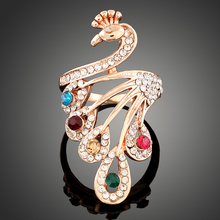 New Crystal Jewelry Animal Rings Gold color Colorful Cubic Zirconia Big Peacock Rings for Women Wedding Party Gift(China)